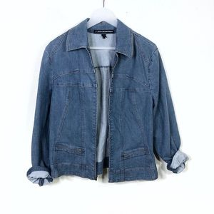 Ellen Tracy Zip Up Denim Jean Jacket Size 12